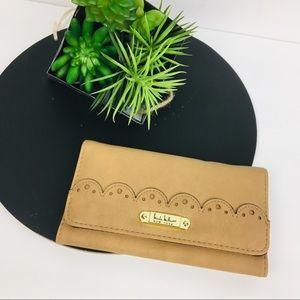 Nicole Miller tan Scalloped Tri-Fold wallet